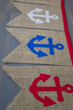 Anchor First Birthday, Nursery, Memorial Day, 4th of July, Patriotic Fabric & Burlap Pennant Bunting Banner Set, for Picnic BBQ Decoration, Military Events, or Photo Prop by BlufftonBanners Etsy shop