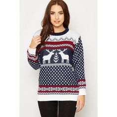 Marcela Knitted Fairisle Christmas Jumper (230 DKK) ❤ liked on Polyvore featuring tops, sweaters, navy blue, white sweater, white christmas sweater, white long sleeve top, white long sleeve sweater and navy jumper