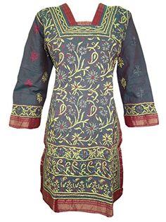 Womans Indian Grey Cotton Tunic Designer Embroidered Kurti Dress Small Sz Mogul Interior http://www.amazon.com/dp/B00WM7KH1Q/ref=cm_sw_r_pi_dp_3rZovb0DRPBFW
