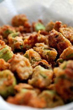 Fried okra. #Southern #Food at it's best!  Note:  I use Crisco and don't add cayene.