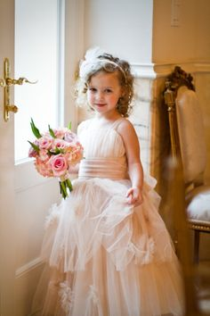 Flower Girl with Pink and Green Bouquet! Perfect for our pink and green theme.  #flowergirl #dress #pinkandgreen #wedding