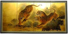 """36"""" x 72"""" Gold Leaf Tigers on the Move 4 Panel Room Divider"""