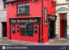 Barber Shop Manchester Nh : Ireland, Connacht, County Sligo, View of barber shop Stock Photo
