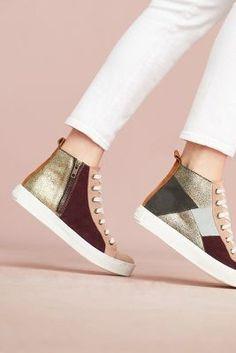38b2b9da9a5 Anthropologie Penelope Chilvers Patchwork High-Top Sneakers Rain Boot  Socks