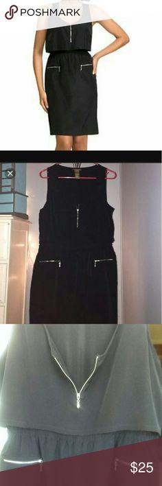 """Tina Knowles Zipper Dress Stylish black Miss Knowles zipper dress. Softy and silky feel.  41"""" L 24"""" bust Miss Knowles Dresses"""