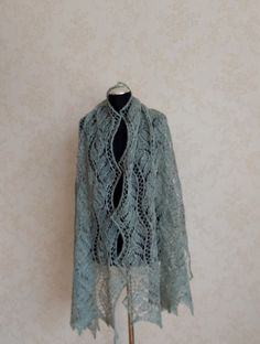 Beautiful hand knitted lace shawl. Luxury yarn-blend brushed alpaca and mulberry silk. Big, soft, fluffy, light, warm, not pricly , suitable also for people with sensitive skin. Perfect for bridal outfit! Wonderful gift for someone special.