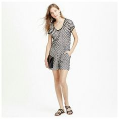 J. Crew Punched out Eyelet Romper  Size 6 NWT Punched out eyelet romper with contrast lining. Back zipper, slant pockets. Lining is flesh tone on ivory and black. Eyelets are large (see third photo for size). All images from J. Crew.com). J. Crew Other