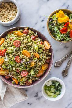 Sorghum Salad with Kale Pesto! Delicious light vegan and gluten free summer dish! via @healthynibs