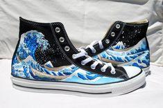 98bc7bfd6db7 Wedding Hand Painted Converse Shoes - The Great Wave Off Kanagawa -Black