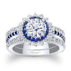 Blue Sapphire Halo Bridal Set 7969S2BS