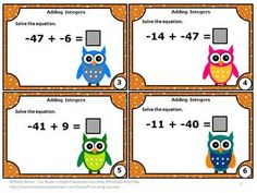 Math Activities Integers: Here are six printable integer task cards. Students must solve integer addition equations. Scavenger hunt directions, along with other games ideas, are provided. A student response form and answer key are also provided. Fun Classroom Activities, Math Classroom, Activity Games, Math Games, Adding Integers, Special Education Math, Negative Numbers, Math Task Cards, 7th Grade Math