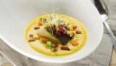 Vinneroppskriften fra årets #codshare-arrangement ble denne lekre gulrotsuppen med chili og torsk. Levert av Varangerkokken Tor-Emil Sivertsen.