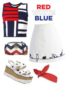 """""""Red White Blue"""" by claudyabenedicta on Polyvore featuring Tommy Hilfiger, Chicwish, Gucci and polyvorecontest"""