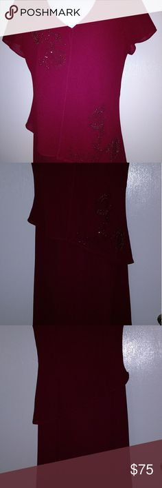 Beautiful beaded semi formal dress size 8 EUC. Only worn once! No rips, tears, holes, or stains. Smoke free home. Dresses Asymmetrical