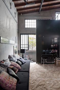 Industrial Interior House Design in Brazil Images. Industrial Living Area Design Ideas with Wooden High Ceiling