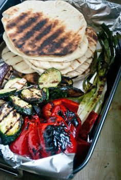 Grilled Vegetable Flat Breads with Lemon Herb Ricotta Spread