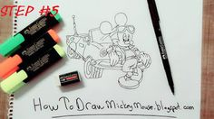 Mickey Mouse Drawing with color Mickey Mouse Drawings, Step By Step Drawing, Drawing Techniques, Easy Drawings, Full Body, Sketches, Paintings, Color, Drawings