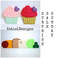 Surprise Sale Sunday at Katie Designs! Today only (7/20) Get my In The Hoop Felt Sandwich Set, Cupcake Set, and Pow and Bam Felties for only $9.50!