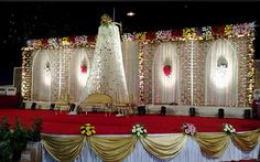 I love finding different types of wedding stage decorations and wedding mandap decorations. Here - Indian Wedding Venue Stage Decorations