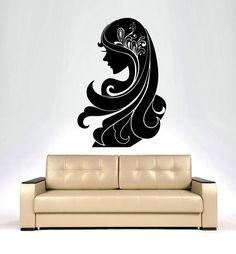 Dear Buyers, Welcome to our shop!    Woman Girl Hair Wall Decals Vinyl Sticker Decal Wall Decor Beauty Salon Living Room Home Interior Design Art Mural