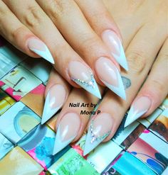 White french stiletto and swarovsky stone nail art