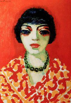 La femme au collier vert (Woman with a green Necklace), by Kees van Dongen (Dutch 1877-1968)