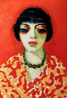 La femme au collier vert (Woman with a green Necklace), by Kees van Dongen (Dutch 1877-1968)