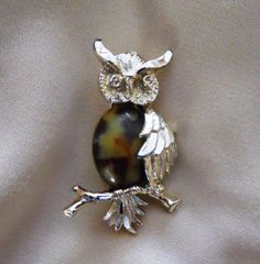 Gerry's Owl On Branch Brooch by mamiezvintage on Etsy, $12.00