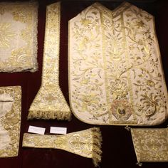 A set of festal vestments from the Abbey of Montecassino. Included are two chalice veils, a stole, a maniple, a burse, and a chasuble.