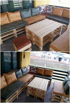 If you want to add a simple yet innovatively designed fabulous couch and ta Wood Pallet Wine Rack, Wood Pallet Tables, Pallet Dining Table, Diy Outdoor Table, Diy Pallet Sofa, Diy Pallet Projects, Pallet Furniture, Wood Pallets, Pallet Ideas