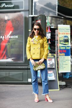 Yellow blazer, crop jeans, pink shoes