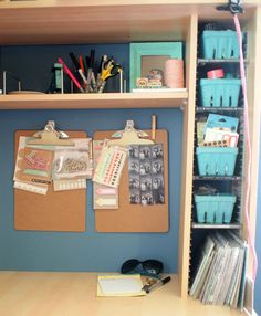 Desk Organization Ideas - Love those strawberry containers for organization!