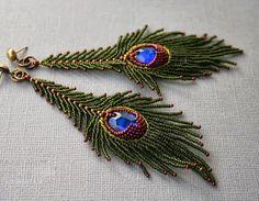 Beaded Peacock earrings by VeraNika. Bead Jewellery, Seed Bead Jewelry, Seed Bead Earrings, Beaded Earrings, Beaded Jewelry, Seed Beads, Peacock Jewelry, Peacock Earrings, Feather Earrings