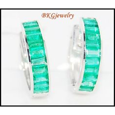 http://rubies.work/0719-ruby-earrings/ 18K White Gold Unique Emerald Gemstone Huggie by BKGjewels on Etsy