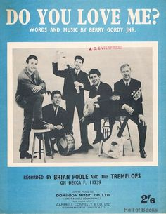 sheet music booklet with cover photographs of Brian Poole And The Tremeloes, In overall very good used condition with only minor signs of age, ha The Tremeloes, Berry Gordy, I Love You, My Love, Textbook, Booklet, Rock And Roll, Sheet Music, Nostalgia