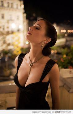 Eva Green, the Bond Girl Vesper Lynd from Casino Royale in black dress looking beautiful.