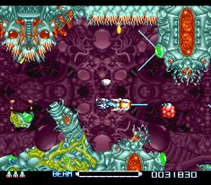 "* A click on the image will move you to the corresponding page. SNES shooter game, ""R-Type3"" playing image ""Stage2"". #SNES #shooter #GAME #Irem #Jaleco #RType3"