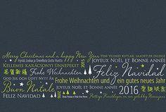 #Weihnachtskarte grau/naturweiß mit Internationalem #Weihnachtsgruß, inkl. Kuvert.