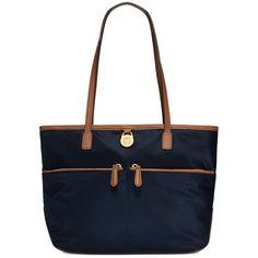 Michael Michael Kors Kampton Medium Pocket Nylon Tote Handbag ($120) ❤ liked on Polyvore featuring bags, handbags, tote bags, navy, white purse, white handbags, lightweight tote, zip tote bag and nylon tote