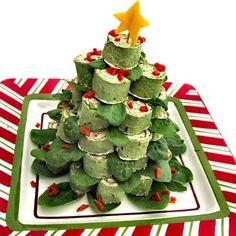 Tortilla roll-up Christmas tree