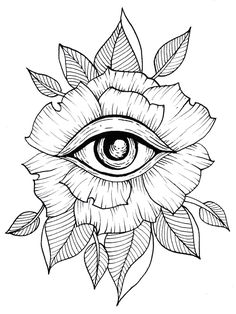 Flower, Eye, Tattoo, Line Art, Flash Art, Leaves, Leaf, Geometric