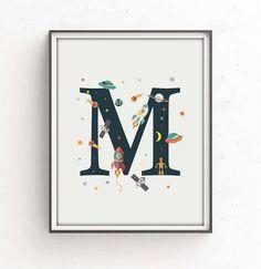 Room Themes, Nursery Themes, Nursery Prints, Nursery Wall Art, Nursery Decor, Space Themed Nursery, Newborn Schedule, Alphabet Print, Kids Poster