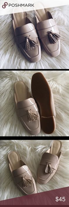 Patent leather nude flats mules NWOT Fun tassels on the front! NWOT Nine West Shoes Flats & Loafers