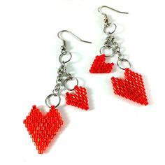 Red heart earrings Red earrings Heart jewelry Valentine by Galiga