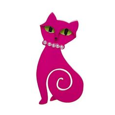 """Erstwilder Limited Edition Meow at Midnight Brooch. """"My eyes shine glowing in the night. though my silky soft body is far out of sight! Cat Jewelry, Jewellery, Cats For Sale, Bright Pink, Kitsch, Creatures, Brooches, Disney Characters, Cute"""