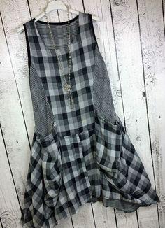 Italy Lagenlook Karo Balloon Dress dress sleeveless squared Grey Black UK 12 14