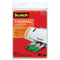 Scotch Thermal Laminating Pouches, 5 Inches x 7 Inches, 20 Pouches (TP5903-20) 3M http://www.amazon.com/dp/B00342VCH6/ref=cm_sw_r_pi_dp_MDy.tb1N88B93
