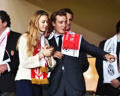 The Royal Watcher - Pierre Casiraghi and his fiance, Beatrice Borromeo attending the the UEFA Champions League quarter-final second leg match between AS Monaco FC and Juventus at Stade Louis II Stadium in Monaco.