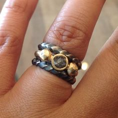 oxidized silver aspen bands and 14k yellow gold diamond micro fragment ring