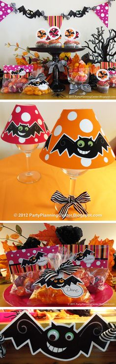 FREE Halloween Decorations and Tutorials: Bat Party Printables, Including Cupcake Toppers, Treat Bag Labels, Wineglass Lampshades and Banners